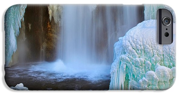 Snowy Brook iPhone Cases - Icy Falls iPhone Case by Kadek Susanto