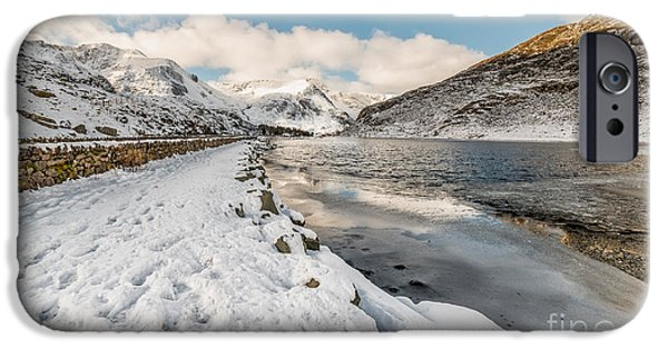 Winter Digital Art iPhone Cases - Icy Lake iPhone Case by Adrian Evans