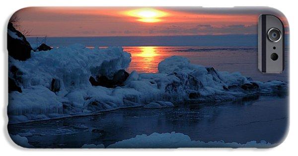 Sandra Updyke iPhone Cases - Icy Lake Superior sunrise iPhone Case by Sandra Updyke