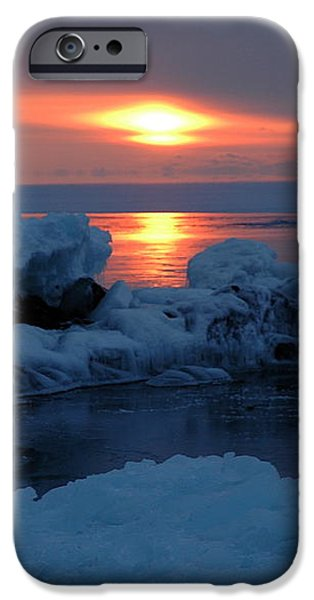 Icy Lake Superior sunrise iPhone Case by Sandra Updyke