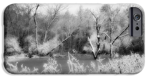 Barn Print Photographs iPhone Cases - Icy Pond iPhone Case by Julie Hamilton
