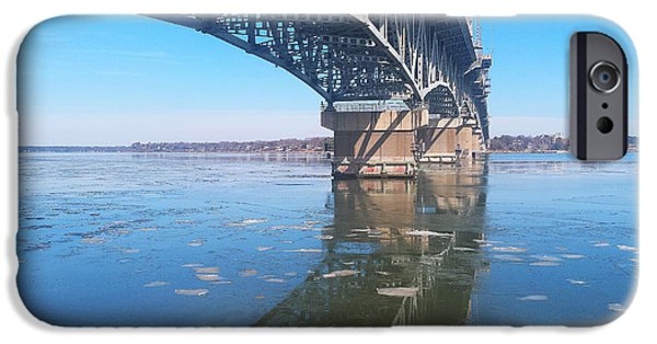 Yorktown iPhone Cases - Icy Reflection of the Coleman Bridge iPhone Case by Nancy Comley