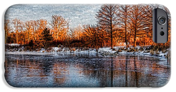 Snowy Day iPhone Cases - Icy Reflections at Sunrise - Lake Ontario Impressions iPhone Case by Georgia Mizuleva