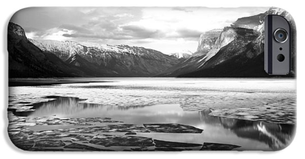 Snow iPhone Cases - Icy water and mountain black and white iPhone Case by Andy Fung