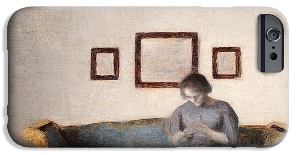 Interior Scene iPhone Cases - Ida Hammershoi sitting on a sofa iPhone Case by Vilhelm Hammershoi