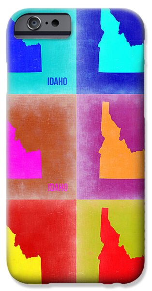 Idaho iPhone Cases - Idaho Pop Art Map 2 iPhone Case by Naxart Studio