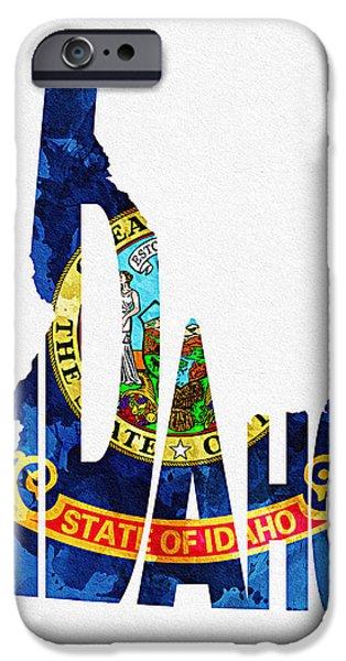 Usa Flag Mixed Media iPhone Cases - Idaho Typographic Map Flag iPhone Case by Ayse Deniz