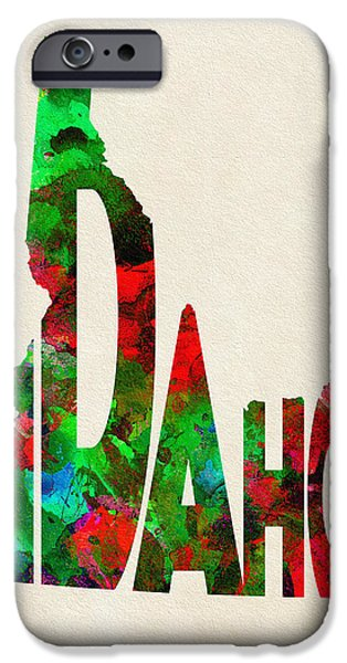 Abstract Map Digital Art iPhone Cases - Idaho Typographic Watercolor Map iPhone Case by Ayse Deniz