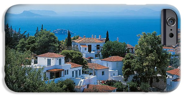 Tile Roofs iPhone Cases - Idra Island Greece iPhone Case by Panoramic Images