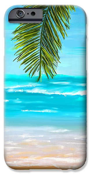 Abstract Seascape Paintings iPhone Cases - Idyllic Place iPhone Case by Lourry Legarde