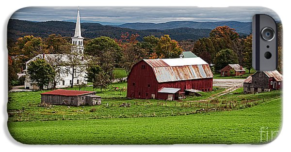 New England Village iPhone Cases - Idyllic Vermont Small Town iPhone Case by Edward Fielding
