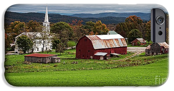 New England Autumn iPhone Cases - Idyllic Vermont Small Town iPhone Case by Edward Fielding