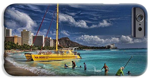 Climate iPhone Cases - Idyllic Waikiki Beach iPhone Case by David Smith