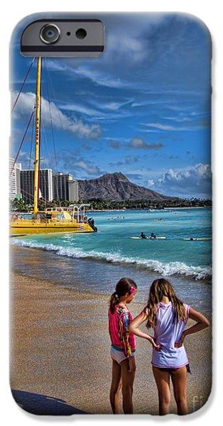 Extinct iPhone Cases - Idyllic Waikiki Beach No 2 iPhone Case by David Smith
