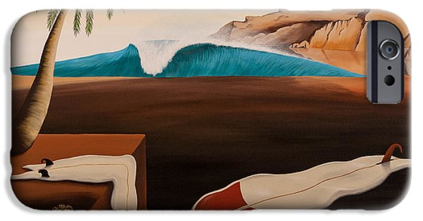 Dali Inspired iPhone Cases - If Dali Was a Surfer... iPhone Case by Matthew Haddaway