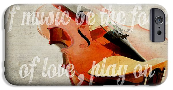 Montage iPhone Cases - If music be the food of love play on iPhone Case by Edward Fielding