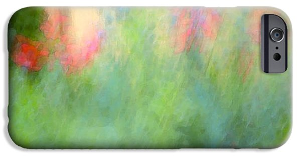 Abstract Digital Photographs iPhone Cases - If My Front Yard Was Giverny iPhone Case by Theresa Tahara