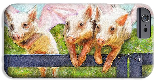 Pig Digital iPhone Cases - If Pigs Could Fly iPhone Case by Jane Schnetlage