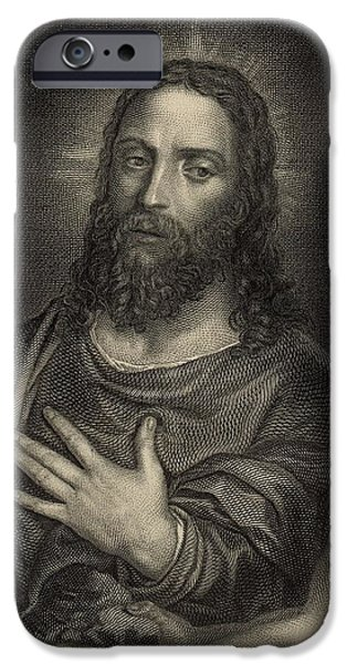 Son Of God Drawings iPhone Cases - If Thou Be the Son of God 1886 Engraving iPhone Case by Antique Engravings