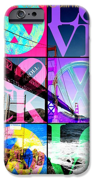 Bay Area Digital iPhone Cases - If You Are Going To San Francisco Be Sure To Wear Flowers In Your Hair 20140665 5d21473 with text iPhone Case by Wingsdomain Art and Photography
