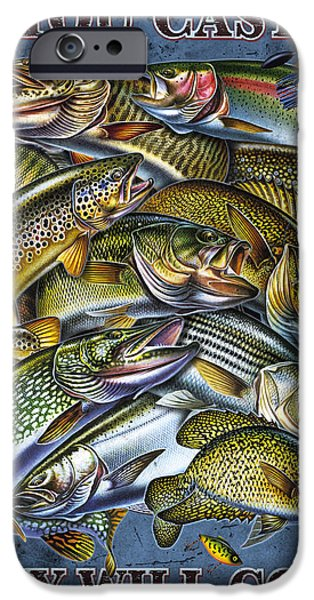Musky Paintings iPhone Cases - If You Cast It iPhone Case by Jon Q Wright