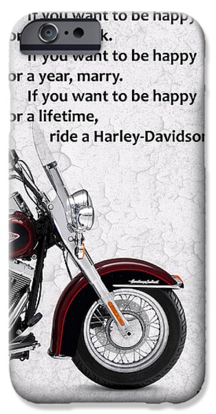 Harley Davidson Photographs iPhone Cases - If you want to be happy 2 iPhone Case by Mark Rogan