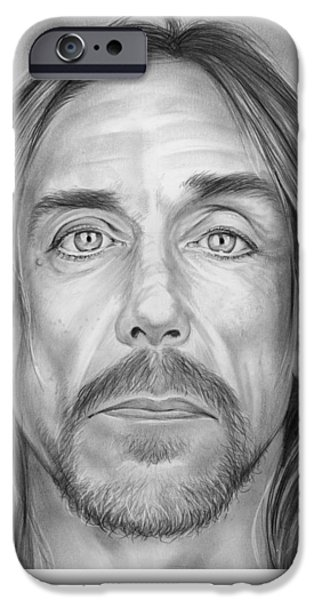 Music Drawings iPhone Cases - Iggy Pop iPhone Case by Greg Joens