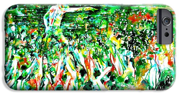 Bands On Stage iPhone Cases - IGGY POP STADIUM LIVE CONCERT - watercolor painting iPhone Case by Fabrizio Cassetta