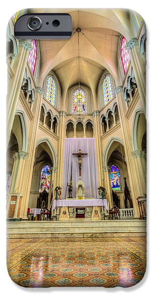 Sacred iPhone Cases - Iglesia de San Isidro de Coronado in Costa Rica Vertical iPhone Case by Andres Leon