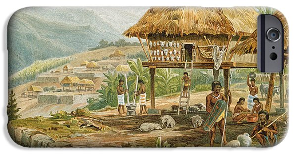 Hut iPhone Cases - Igorrote Farm In Luzon, Philippines, From The History Of Mankind, Vol.1, By Prof. Friedrich Ratzel iPhone Case by Hans Meyer