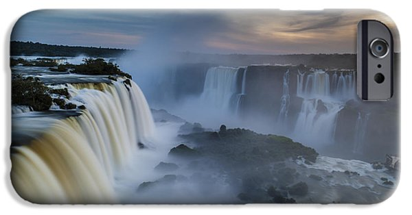 Brasil iPhone Cases - Iguacu Falls Sunset Majesty iPhone Case by Mike Reid
