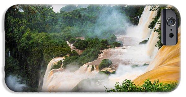 Mist iPhone Cases - Iguazu Natural Wonder iPhone Case by Inge Johnsson