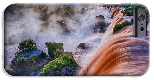 Pacific Northwest Rivers iPhone Cases - Iguazu Sunrise iPhone Case by Inge Johnsson