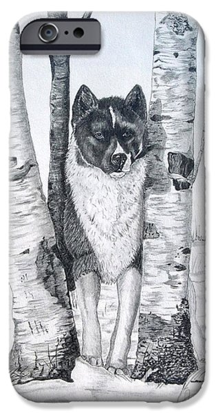 Dog In Landscape iPhone Cases - Ihasa in the Woods iPhone Case by Joette Snyder