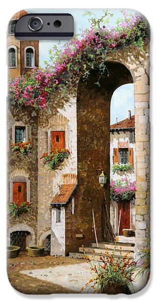 Steps Paintings iPhone Cases - Il Campanile iPhone Case by Guido Borelli
