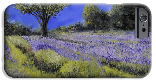 Lavender iPhone Cases - Il Campo Di Lavanda iPhone Case by Guido Borelli