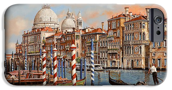 Night Lamp iPhone Cases - Il Canal Grande iPhone Case by Guido Borelli