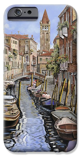 Venice iPhone Cases - il gatto nero a Venezia iPhone Case by Guido Borelli