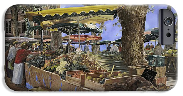 Basket Paintings iPhone Cases - il mercato di St Paul iPhone Case by Guido Borelli