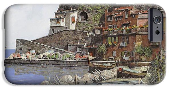 Coastal Paintings iPhone Cases - il porto di Sorrento iPhone Case by Guido Borelli