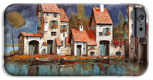 Morning Light Paintings iPhone Cases - Il Villaggio Sul Lago iPhone Case by Guido Borelli