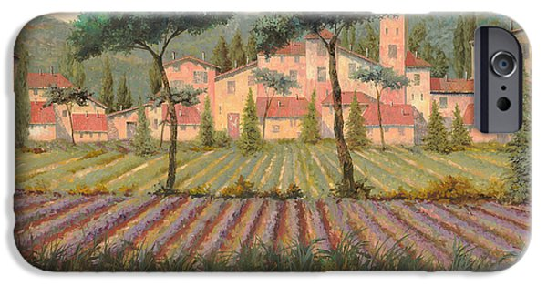 Lavender iPhone Cases - Il Villaggio Tra I Campi Di Lavanda iPhone Case by Guido Borelli