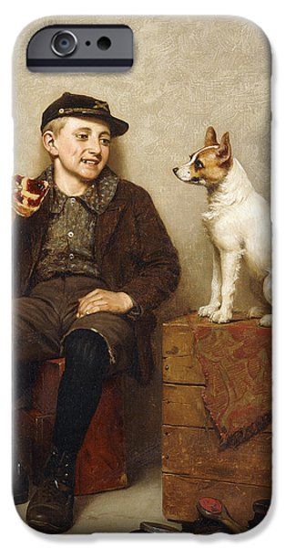 19th Century Paintings iPhone Cases - Ill Share With You iPhone Case by John George Brown