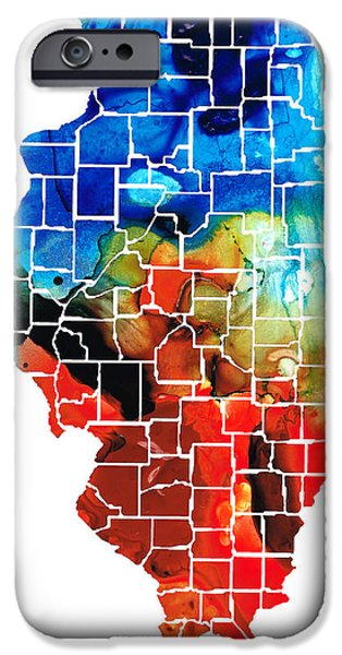 Bulls Mixed Media iPhone Cases - Illinois - Map Counties by Sharon Cummings iPhone Case by Sharon Cummings