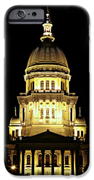 Historic Site iPhone Cases - Illinois State Capitol -- Night iPhone Case by Stephen Stookey