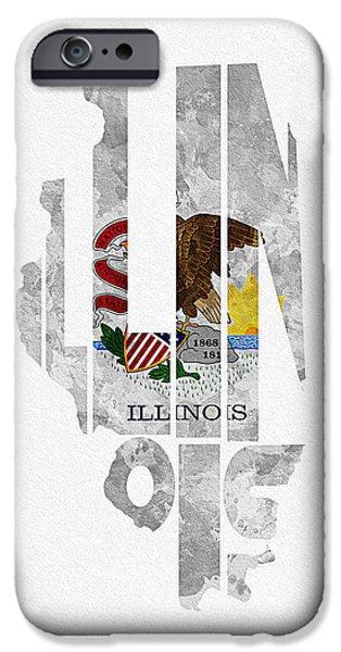 Usa Flag Mixed Media iPhone Cases - Illinois Typographic Map Flag iPhone Case by Ayse Deniz