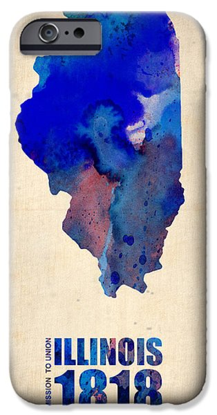 Decoration iPhone Cases - Illinois Watercolor Map iPhone Case by Naxart Studio