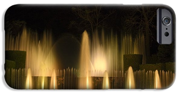 Open Air Theater iPhone Cases - Illuminated Dancing Fountains iPhone Case by Sally Weigand
