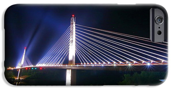Island Stays iPhone Cases - Illuminated Penobscot Narrows Bridge and Observatory iPhone Case by Barbara West