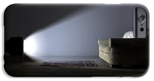Flooring iPhone Cases - Illuminated Television And Lonely Old Couch iPhone Case by Allan Swart